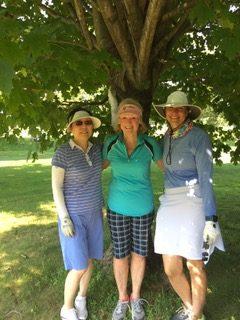 7/30/19 Jennifer, Susan, Niki cooling off under tree